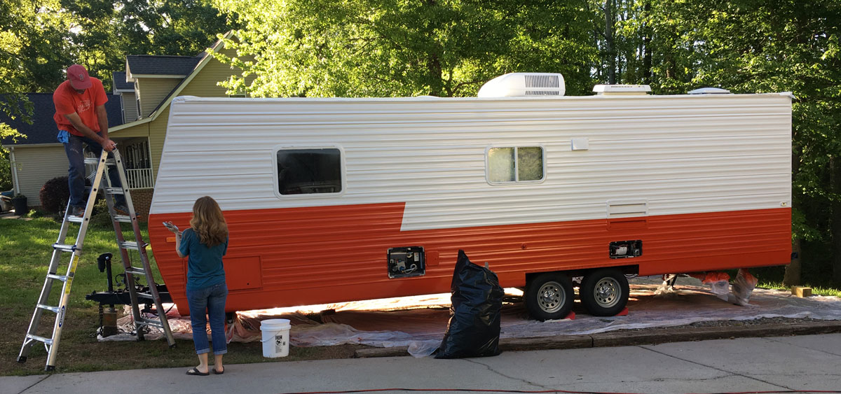 Painting Our Aluminum Camper